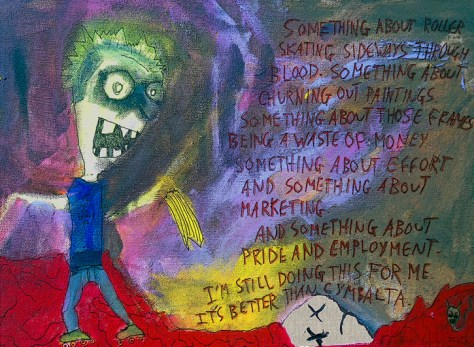 """Roller Skating Sideways Through Blood."" 4/6/13. Acrylics and pen on stretched canvas. 12x16""."