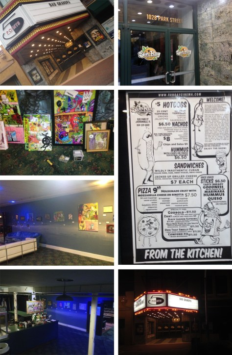 Some photographs I took tonight while setting up my art show at Sun Ray Cinema.