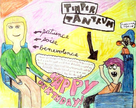 """""""Temper Tantrum v. Patience, Poise, and Benevolence."""" 12/17/12. Colored pencil and pen. 10x8""""."""
