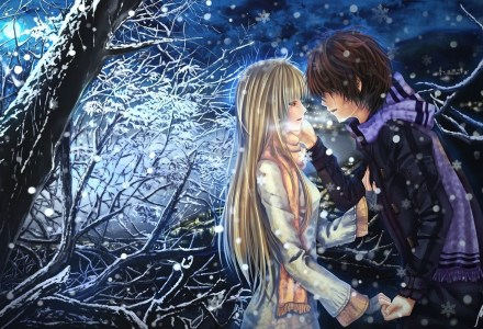 Anime Boy Girl Couple In Love HD Wallpaper - LoveWallpapers4u.Blogspot.Com