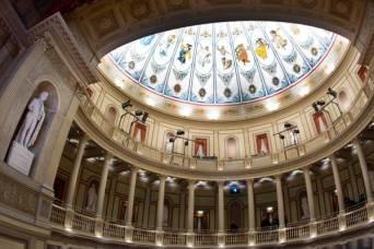 L'interno del teatro di Villa Torlonia in occasione della sua apertura al pubblico. Roma, 7 dicembre 2013. ANSA/CLAUDIO PERI