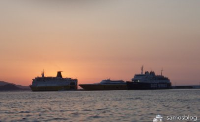 The ferry pier in Samos at sunset