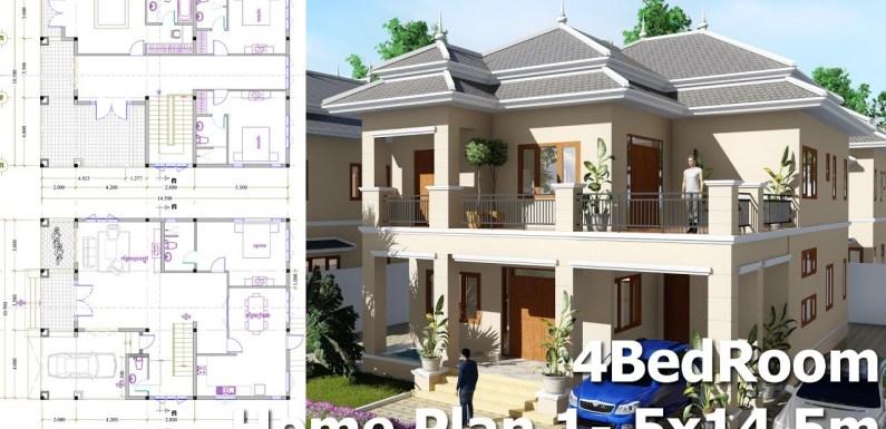 4 Bedroom Villa Design Idea 10,5m x14,5m