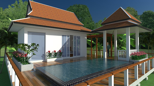 SketchUp Exterior House design with pool (speed video)