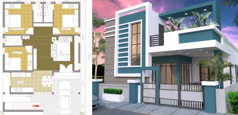 One Story House with 3 Bedroom Plot 36×50