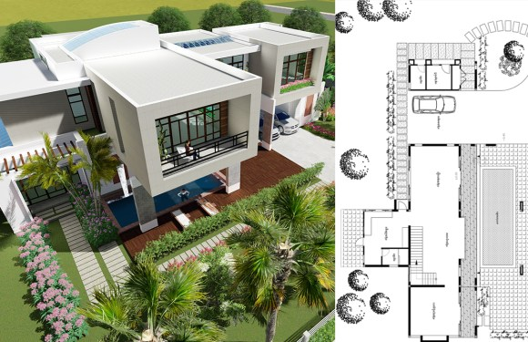 4 Bedrooms Modern Villa Design 27×15.6m