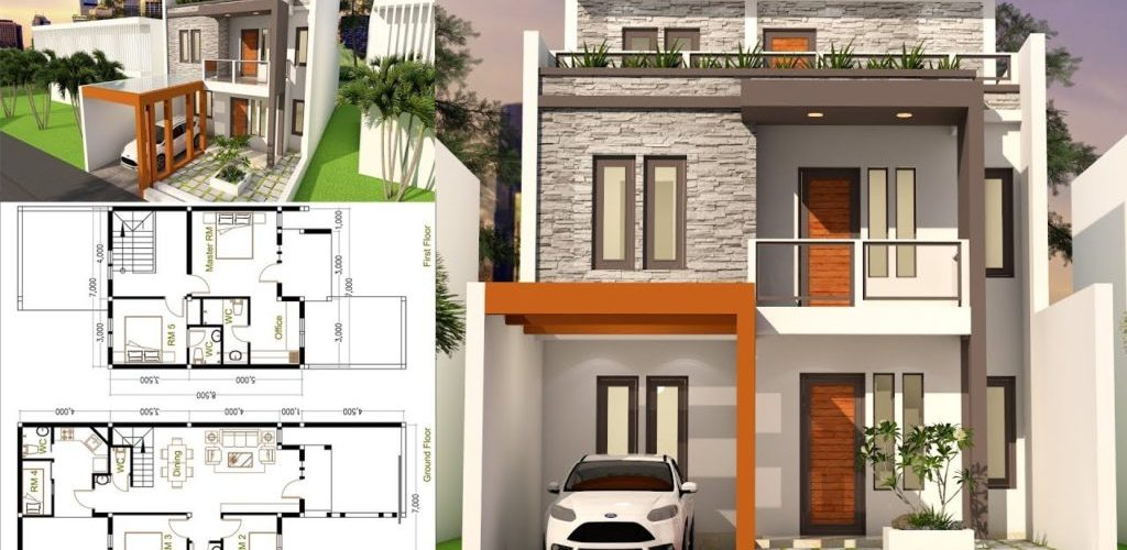 5 Bedrooms Home Design Plan 7×17