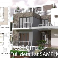 4 Bedrooms Modern Home Plan Size 10x16m
