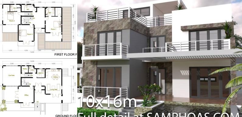 4 BedroomsModern Home Plan Size 10x16m