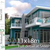 3 Bedrooms Villa design plan 11x18m