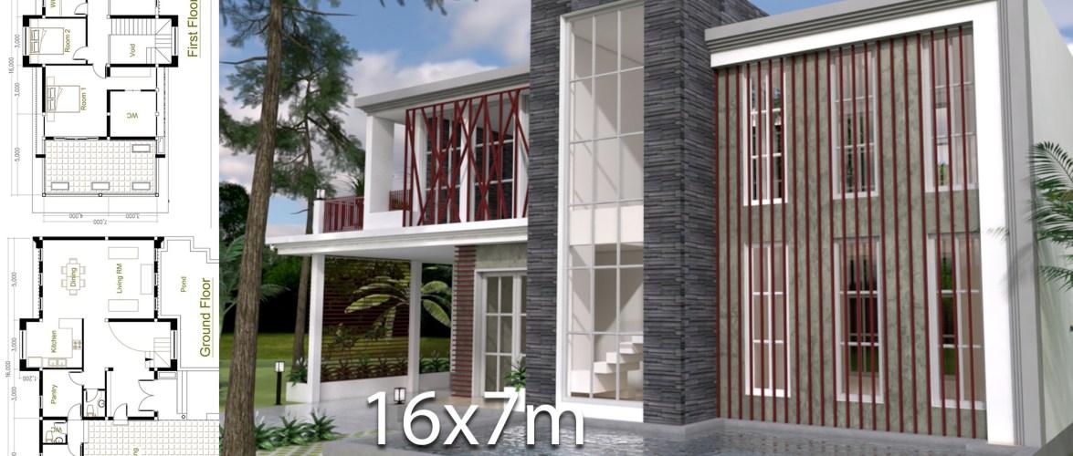 3 Bedrooms Modern Home Plan 7x16m