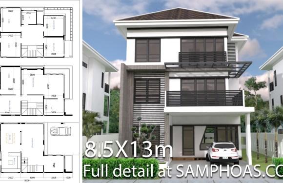 6 Bedrooms House Plan 8.5x13m