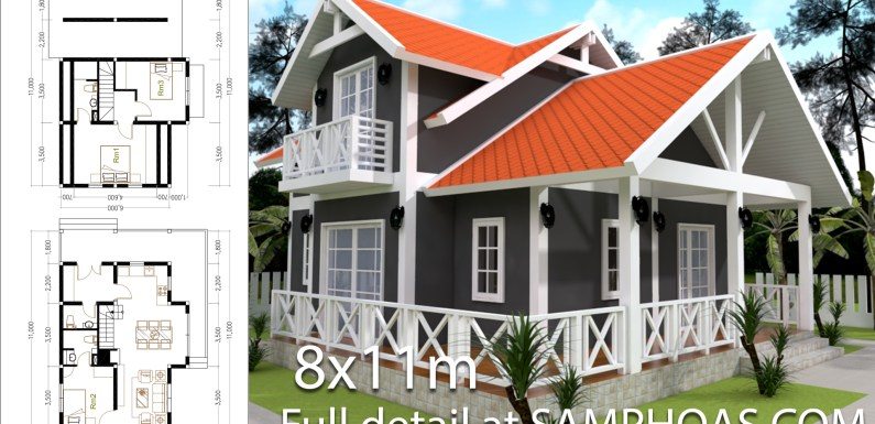 2 Story House Plan 8x11m With 3 Bedrooms