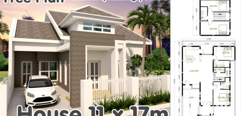 4 bedrooms house plan 11x17m