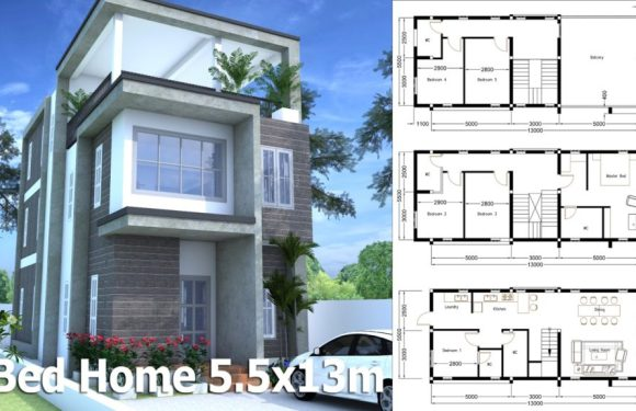 Modern Home Plan 5.5x13m With 6 Bedroom