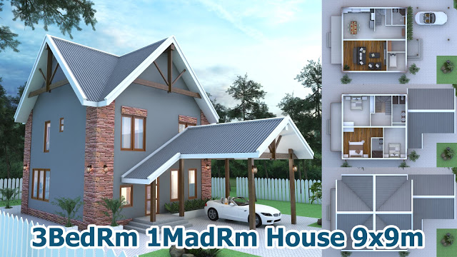 3 Bedroom House Plan 9x9m