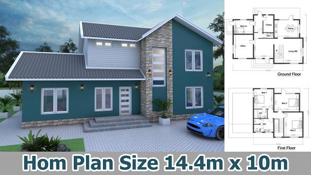 4 Bedroom Home Design Plan 14.4x10m