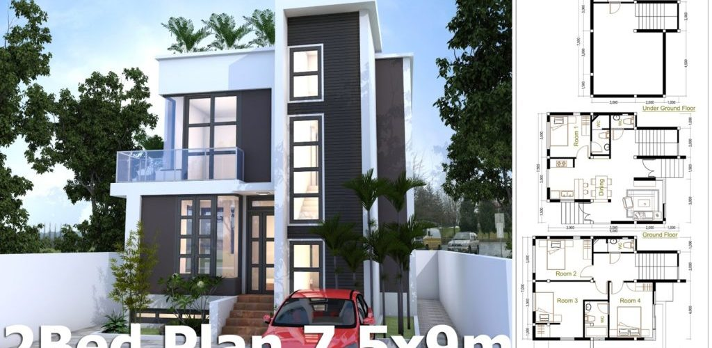 4 Bedroom Home Design Plan 7.5x9m