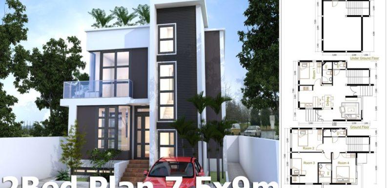 4 Bedroom Home Design Plan 7.5x9m