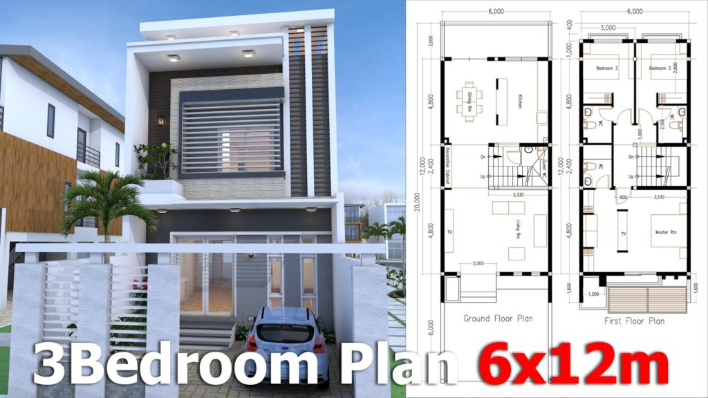 Modern Home Plan 6x12m with 3 Bedroom