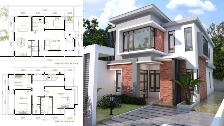 . 4 Bedroom Modern Home Plan Size 8x12m