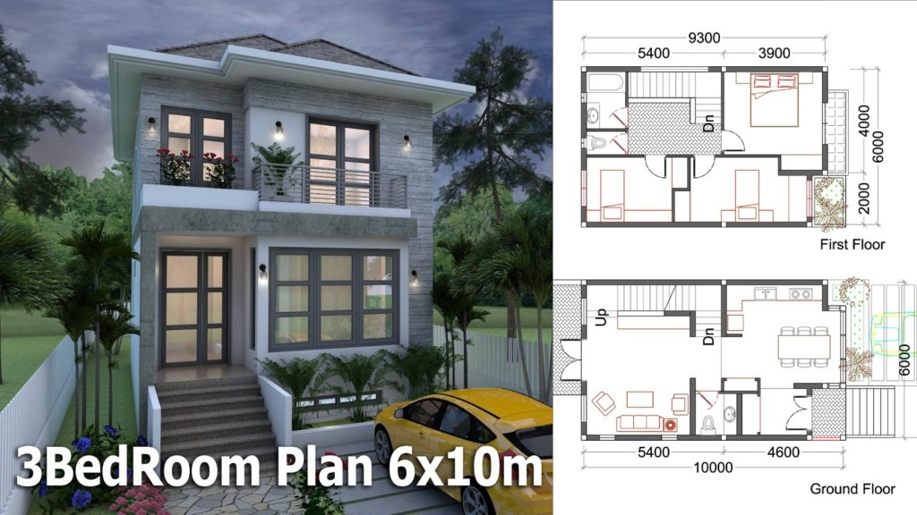 3 Bedrooms Small Home Design Plan 6x10m