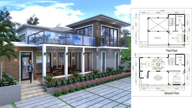 Villa Design Size 13.3mx9m 2 bedroom