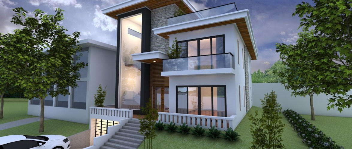Exterior Villa Design with 3 Stories Level