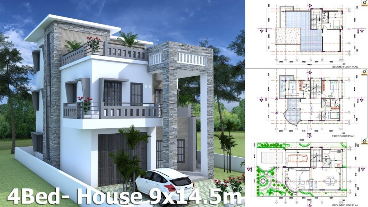 Modern House Plan 9x14.5m With 4 Bedrooms
