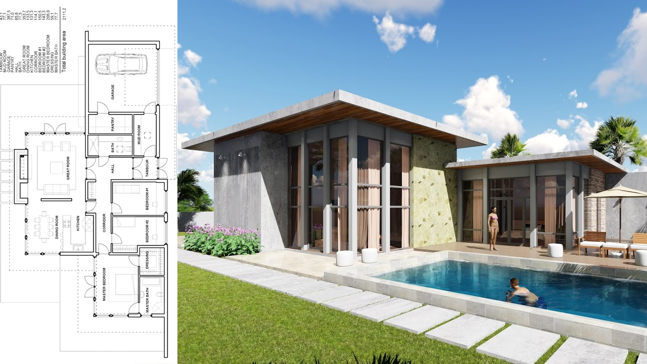 One Story House 7 bedroom Exterior Design - SamPhoas Plan