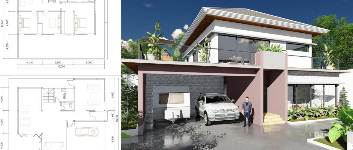 Modern 3 Bedroom Villa design Size 13m7x15m