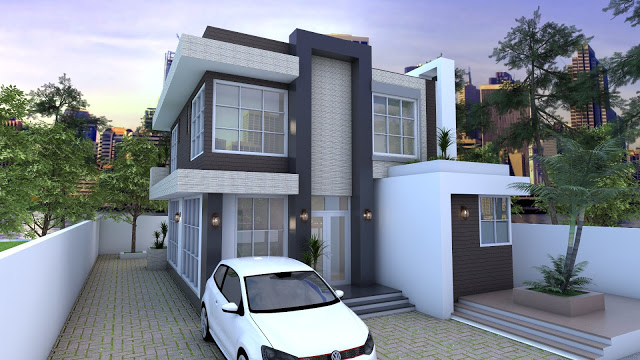 4 Bedrooms Home Design Plan 9x9m