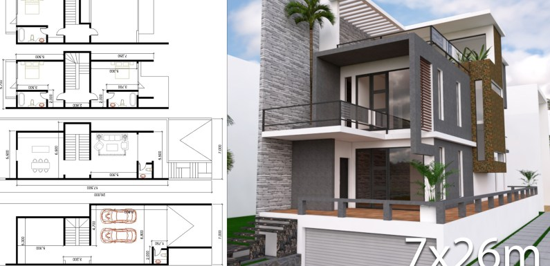 3 Stories House Design With Land Size 7mx26m