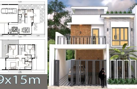 3 Bedroom House Plan Plot Size 9×15