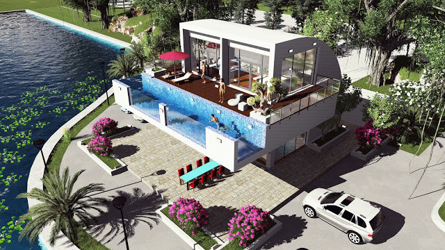 Sketchup Modeling Modern Vila Design 14 + Lumion Render