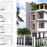 Narrow Lot House Plans: 4 Bedrooms House 4,5 x 12 Meter