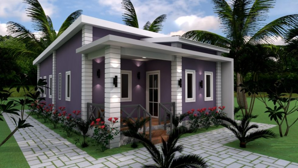 Low Budget Home Plan 6x11 Meter 3 Bedrooms 3d exterior
