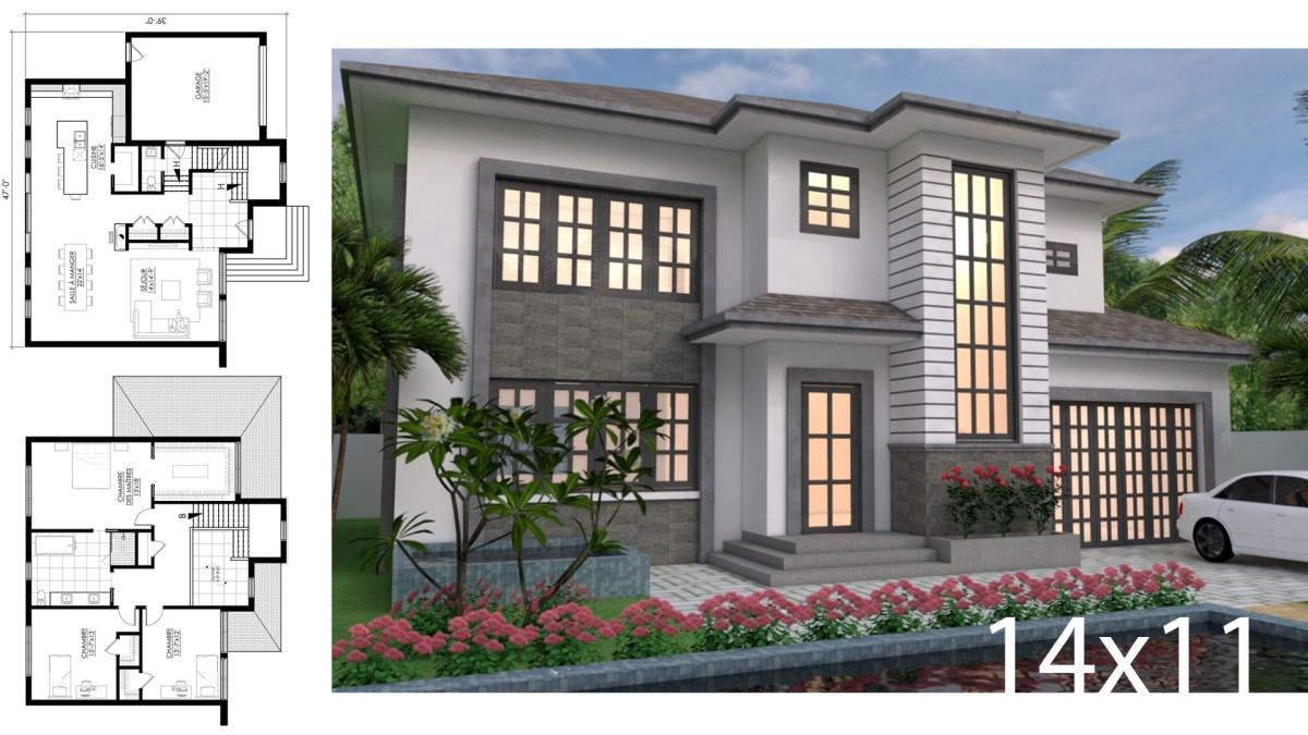 2 Story House Design 14x11m