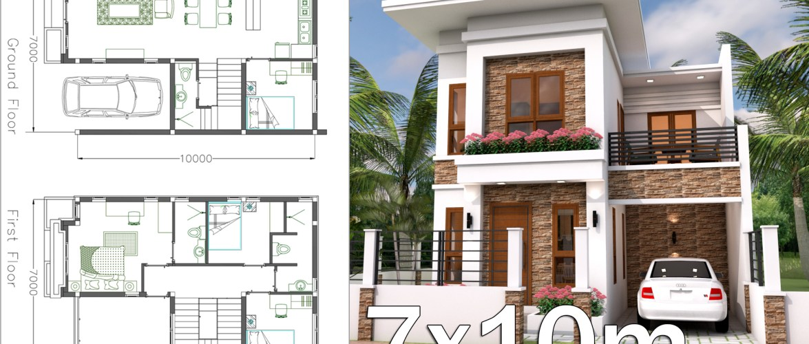 Interior Home Plan 7×10 Meter 4 Bedrooms