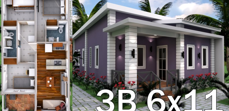 Low Budget 3 Bedrooms Home Plan 6×11