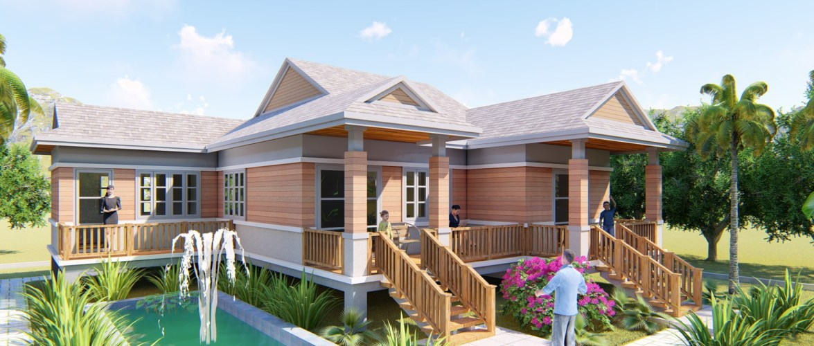 One Story Home Design Plan 14x14M