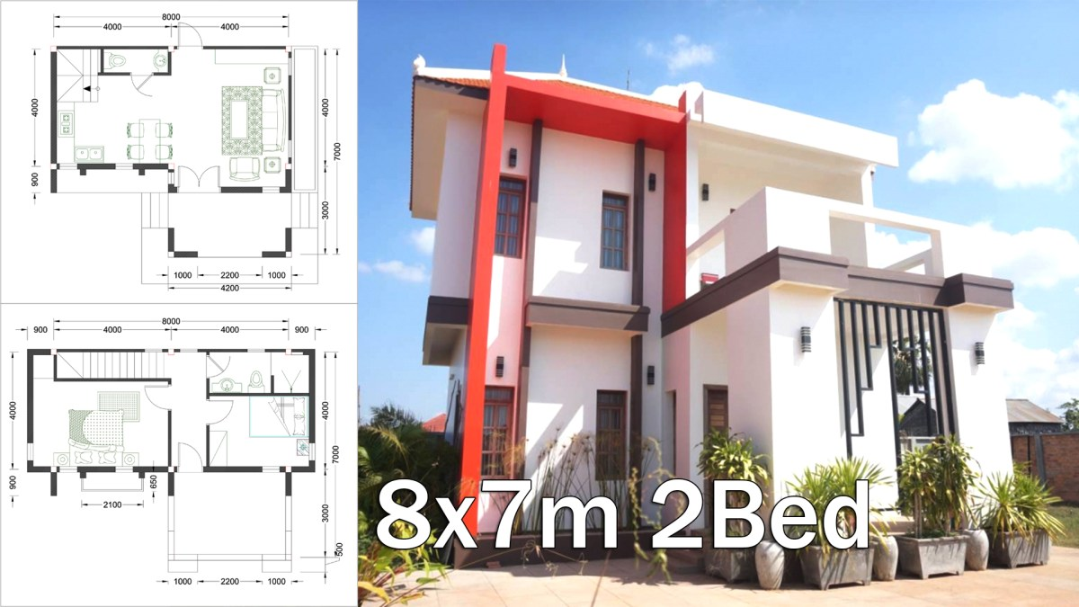 8x7M Sketchup Home Design With 2 Bedrooms