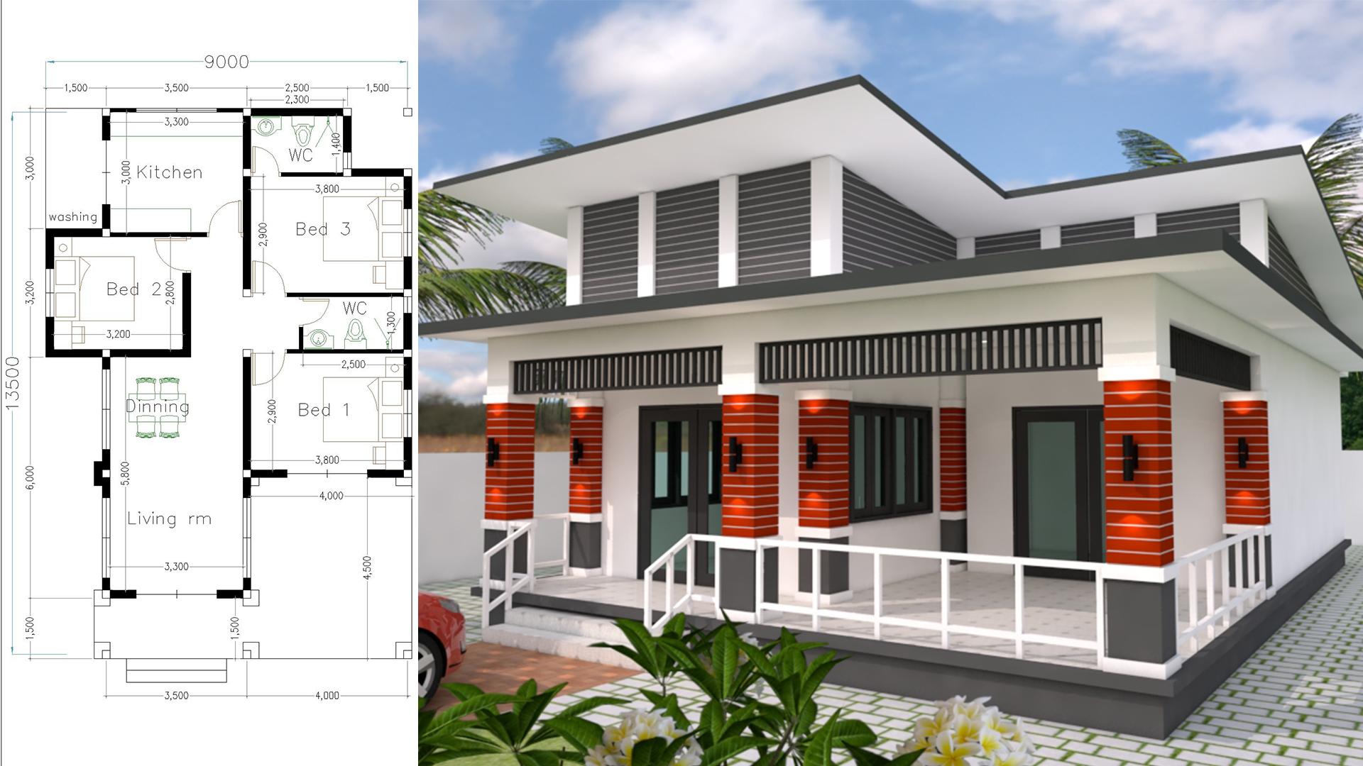 Bungalow House Design 9x13.5 Meter With 3 Bedrooms - SamPhoas Plan