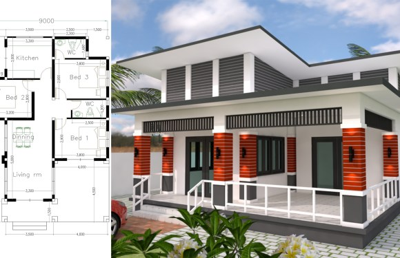 Bungalow House Design 9×13.5 Meter With 3 Bedrooms