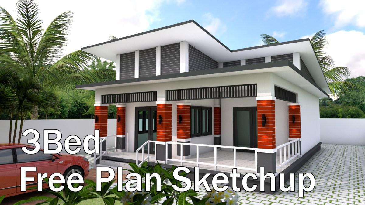 Bungalow House Design 9x13.5 Meter With 3 Bedrooms