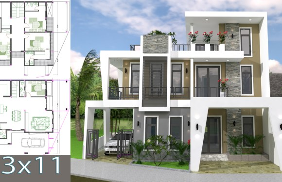 Home Design Plan 13x11m with 4 Bedrooms Plot 13×15