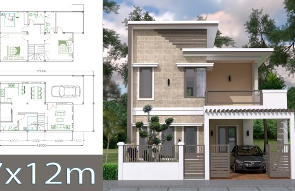 Home Design Plan 7x12m with 4 Bedrooms Plot 8×15