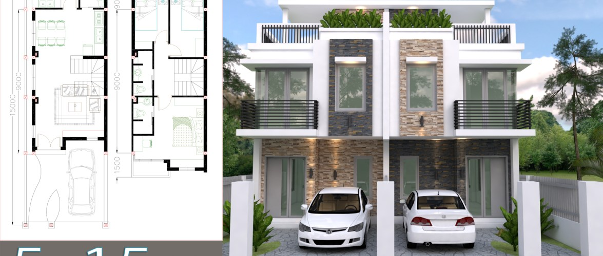 Home Design Plan 5x15m Duplex House with 3 Bedrooms front