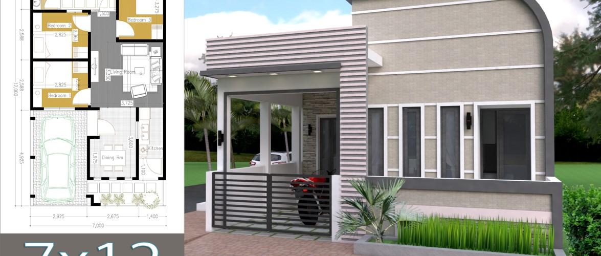 One Story Home Design Plan 7x12m