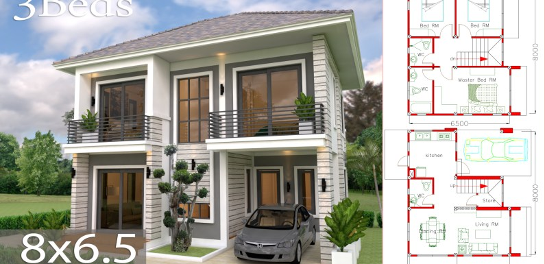 Home Design Plan 8×6.5m With 3 Bedrooms